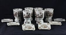 Set Of Six Older Mason's Watteau Brown Double Egg Cups And Six Matching Ashtrays