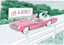 It's a Girl 1950's auto sports car   original cigar box  label
