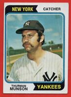 1974 Topps #340 Thurman Munson EX+ WRINKLE New York Yankees FREE SHIPPING