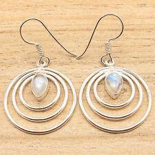 Earrings ! Silver Plated Jewelry Trendy ! Drop Rainbow Moonstne Spiral