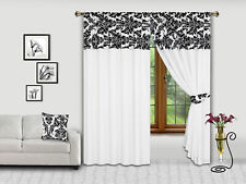 DAMASK FLOCK PENCIL PLEAT READYMADE CURTAINS IN 2 SIZES WITH FREE TIE BACKS