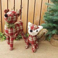 Red & Brown Tartan Fabric Standing Reindeer or Sitting Fox Christmas Decoration