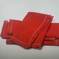 New THRESHOLD RED FRINGE LINEN BLEND CLOTH NAPKINS ~ Set of 4