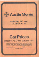 Austin Morris MG Vanden Plas UK Price List 1975 Oct Mini Allegro Marina Taxi