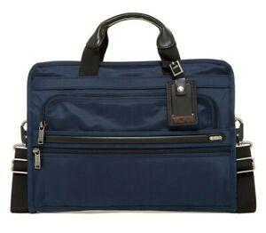 Tumi Ballistic Nylon Slim Deluxe Portfolio Business Briefcase Tote Bag Navy Blue