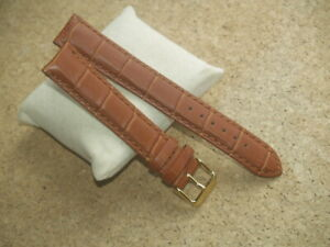 QUALITY 20 22mm GENUINE LEATHER BROWN / TAN CROC GRAIN EXTRA LONG WATCH STRAP