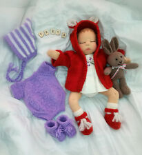 Waldorf Baby Doll & Knitted Bunny Toy and Large Selection of Knitted Clothes,NEW