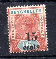 Seychelles QV 1893 15c on 16c mint LHM SG18 WS11463