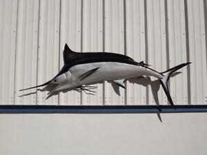 "95"" Black Marlin Half Mount Fish Replica - 10 Business Day Production"