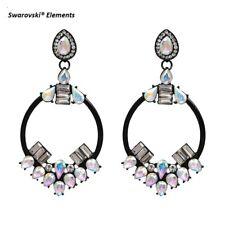 Boucles d'oreilles créoles  Swarovski® Éléments sur céramique noir