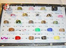 COOL CHIC WHOLESALE VINTAGE COLLECTION 25 LUCITE RINGS FUNKY GROUP G MIXED SIZE