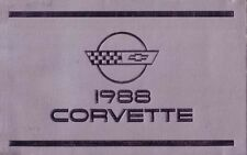 1988 Corvette Owners Manual User Guide Reference Operator Book