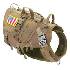 Tactical Military Dog Harness MOLLE With Pouches Bag Training K9 POLICE Doberman
