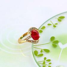 Elegant 18k ct Gold Plated Red Ruby Women's Ring with zircon cluster-Size 8