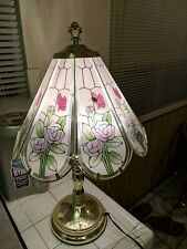 Tiffany Style 1988 Stained Glass Rose butterflies Table Lamp With Touch Control