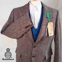 42R HARRIS TWEED Suit Blazer Jacket Brown & Blue Herringbone Hunting Wedding #56