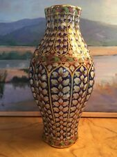 Maitland Smith Porcelain Imari Asian Vase Floral Blue Red Gold Thailand Exotic