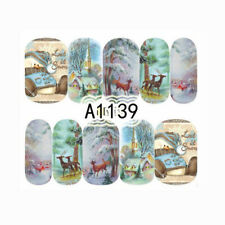 Christmas Nail Art Water Decals Deer House Manicure Nail Transfer Stickers Decor