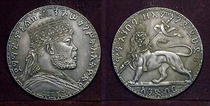 ETHIOPIA 1897(EE1889A) 1 Birr Crown, Menelik II