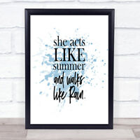 Acts Like Summer Inspirational Quote Print Blue Watercolour Poster
