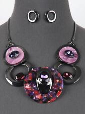 Rhinestone Purple Hematite Tone Bib Statement Necklace Earrings Jewelry Set