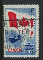Perfin C46-CW/C: 1967 5c Confederation Centennial 453-5 Canadian Westinghouse Co