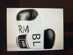 Rumble RMBL Premium Leather Combat Heavy Bag Black White Boxing Gloves