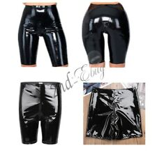 Sexy women WET LOOK Zippered Crotch Tight Shorts Pants lingerie underwear