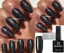 BLUESKY 63932 BLACK + MULTI GLITTER AUTUMN WINTER NAIL GEL POLISH LED UV SOAK OF