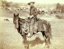 ANTIQUE REPRODUCTION 8X10 PHOTOGRAPH WESTERN COWBOY ON HORSEBACK