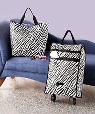Modern 2-pc Luggage Set, Zebra Rolling Trolley & Tote - For Traveler on the Go!