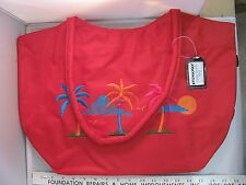 NWT Stowaway Large Pretty Red Zippered Beach Bag Tote Tropical Palms Sun HD032C