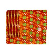 Indian Handmade Vintage Cotton Reversible Kantha Bedspread Throw- Shalini