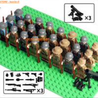 24 Pcs Minifigures lego MOC WW2 Army Soldiers Italian-Soviet-China-US & Weapons