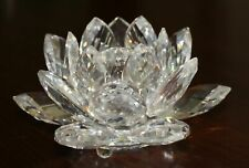 Swarovski Crystal Large Water Lily Candle Holder Mint In Box with Coa