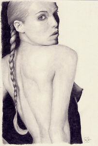 Original Art. Nude With Pigtails. Drawing. By Simon Field.