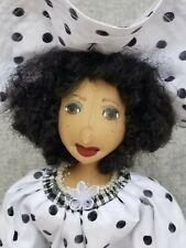 -New- Handmade cloth doll Angela Kwestionmark#257 black and white polka dot