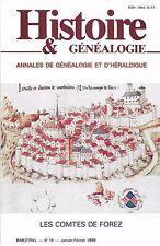 HISTOIRE & GÉNÉALOGIE N°15/1988= comtes de FOREZ, Bulgarie, Conseillers angevins