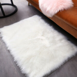 2PCS Small Fluffy Rugs Fuzzy Furry Throw Rug 2x3 ft Area and Round Faux Fur