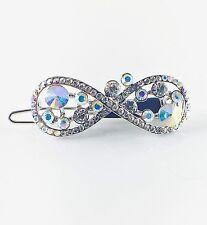 USA Hair Clip use Swarovski Crystal Hairpin barrette Unique Silver AB Bow WOMENS