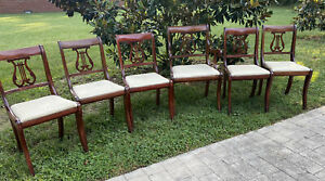 Set TELL CITY Mahogany Duncan Phyfe Style Harp/Lyre Back Dining Chairs (Can Ship