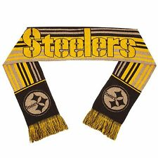 Pittsburgh Steelers Scarf Knit Winter Neck - Double Sided Glitter Stripe 2016