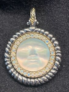 KIRKS FOLLY SEAVIEW MOON PENDANT Silver Tone With Rainbow Stones In Gold Circle
