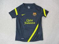 Nike Barcelona Soccer Jersey Youth Small Gray Yellow Dri Fit Futbol Kids Boys