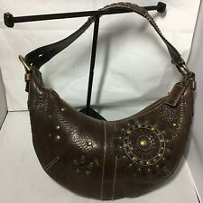 Coach Brown Pebbled Leather Studded Hobo Shouder Bag Purse Brass Tone Buckle GUC