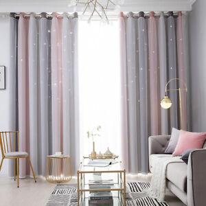 Gradient Starry Stars Tulle+Blackout Curtains Boys Girls Room Decor UK
