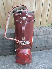 Vtg Atlantic Golf Cart Bag with Rain Hood Leather?