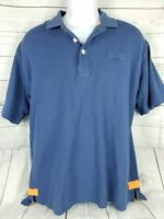 ORVIS Mens Size L Large Short Sleeve Fly Fishing Polo Shirt Blue Cotton