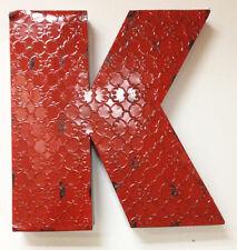 "20"" Industrial Letter K, Embossed 20"" Large Rustic Red Metal Wall Letter K"
