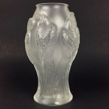 "Lalique Crystal ""Ara"" Vase With Parrot Motif 9 3/4"""